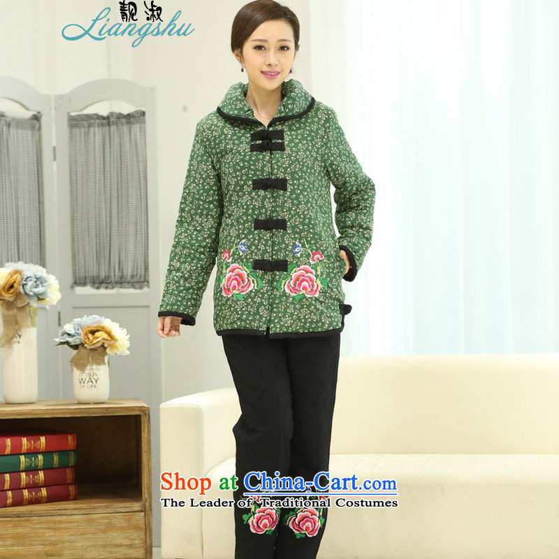 Talks of autumn and winter 2015 Mrs mother older women in national wind load Embroidery Stamp Grandma Tang Dynasty Large comfortable cotton clothing cotton single kit optional package燲XXL green