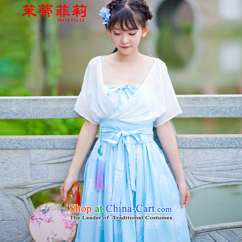 Energy Tifi Han-li ancient classical poetry and skirt female kit girls retro short skirt two kits dresses guzheng will white燣爈ong skirt