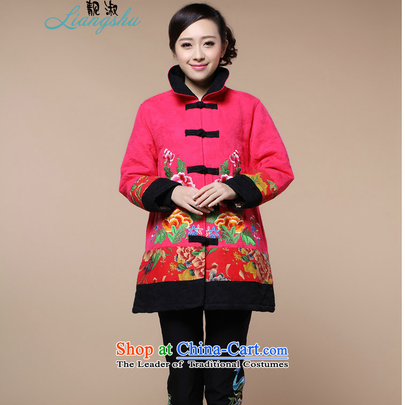 Talks of autumn and winter 2015 Mrs new stylish large installed in the mother of older women's national wind load Embroidery Stamp Grandma Tang dynasty warm coat in the color red. XXXL
