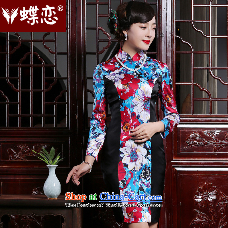 Butterfly Lovers 2015 Autumn new stylish short, improvement of cheongsam dress stitching long-sleeved retro Silk Cheongsam suit - pre-sale 5 days?XXL