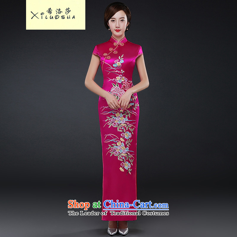 Hillo XILUOSHA_ Lisa _sepia qipao long qipao autumn ritual of Sau San Chinese cheongsam dress brides mother bows services 2015 new better RED燤