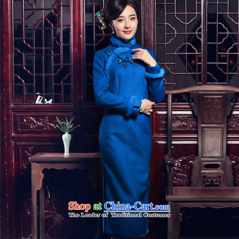 The Butterfly Lovers 2015 autumn and winter new improved Stylish retro long-sleeved long cheongsam dress fleece peacock blue qipao? - 10 days pre-sale?M