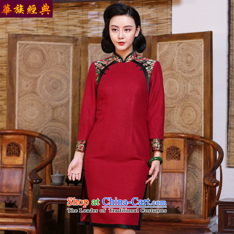 Chinese Classic long-sleeved gross be Serb cheongsam dress autumn and winter day-to improve the stylish and elegant Chinese Female dress Sau San Red?S