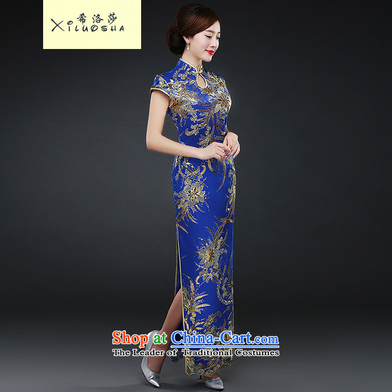 Hillo XILUOSHA_ Lisa _Republic of Korea wind qipao autumn and winter new wedding dress costume bride services?Qipao Length of bows CHINESE CHEONGSAM with mother Blue燤