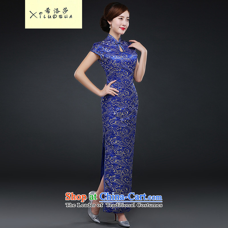 Hillo XILUOSHA_ Lisa _sepia cheongsam dress 2015 new fall wedding services cheongsam long bows cheongsam dress suit Chinese embroidery banquet blue燣