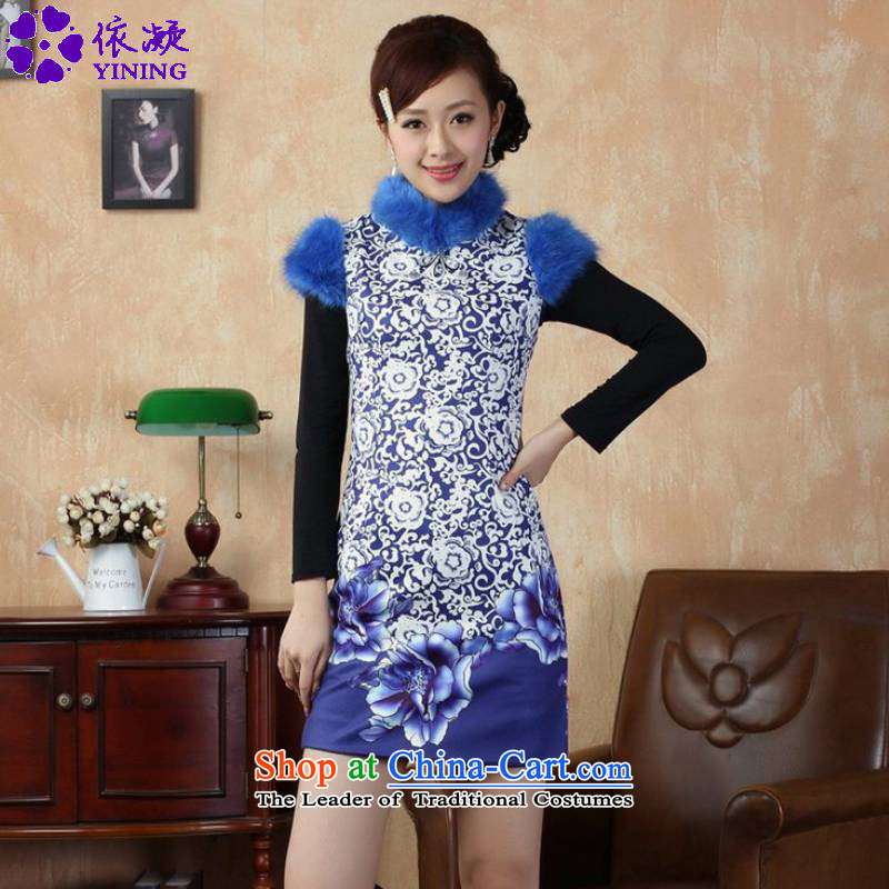 In accordance with the Fuser OF ETHNIC CHINESE WOMEN'S improved dress suit stitching tray clip short of Sau San Tong replacing old winter qipao _Y0018_ figure聽S