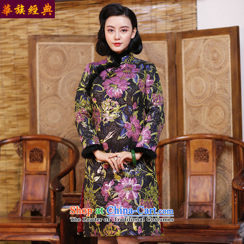 China Ethnic classic folder cotton qipao skirt new autumn 2015 daily Chinese antique dresses long-sleeved elegant winter clothing suit S