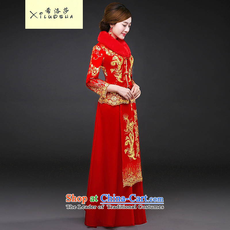 Hillo XILUOSHA_ Lisa _bows services qipao long marriage of Chinese qipao gown longfeng use the bride-soo Wo Service 2015 new autumn and winter red?XL