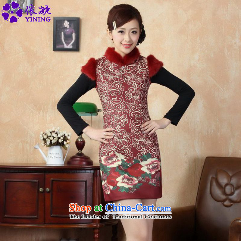 In accordance with the fuser retro OF ETHNIC CHINESE WOMEN'S improved stamp short of Sau San Tong replacing old winter qipao /Y0019# Figure�2XL