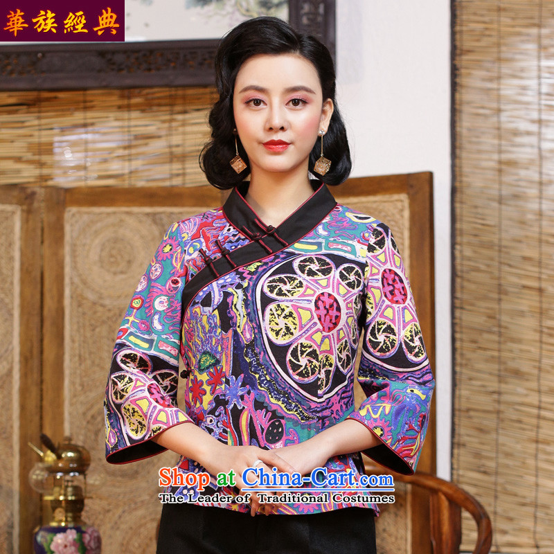 China Tang dynasty Classic ethnic Han-female qipao Chinese clothing long-sleeved T-shirt of the Republic of Korea 2015 autumn wind load China wind suit - 15 days pre-sale聽S