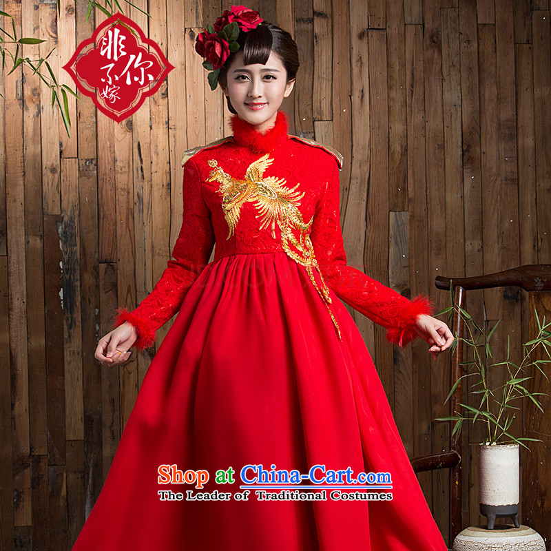 You do not marry non-Top Loin of large numbers of pregnant women serving thickened the bride bows of winter clothing long-sleeved qipao retro lace long wedding dress red clip cotton long?5XL