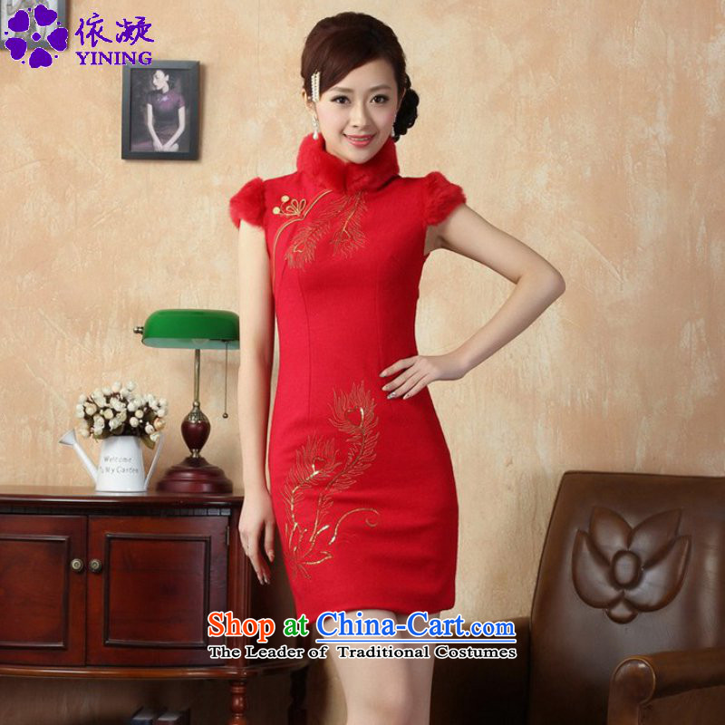 In accordance with the improved Chinese women's fuser dresses ethnic Classic tray clip short of Sau San Tong replacing old winter qipao _Y0020_ RED聽XL