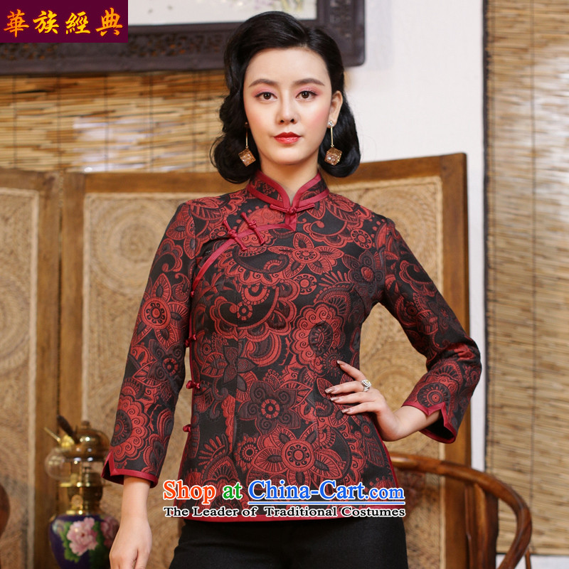 China-Tang dynasty Classic Chinese republic of korea wind jacket qipao Han-Ms. ancient China wind long-sleeved blouses and fall inside - pre-sale suit 15 days燲XL