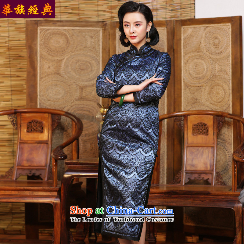 China-republic of korea lace qipao classic skirt 2015 new autumn and winter long-sleeved long skirt Chinese improved abounds qipao - 15 days pre-sale L