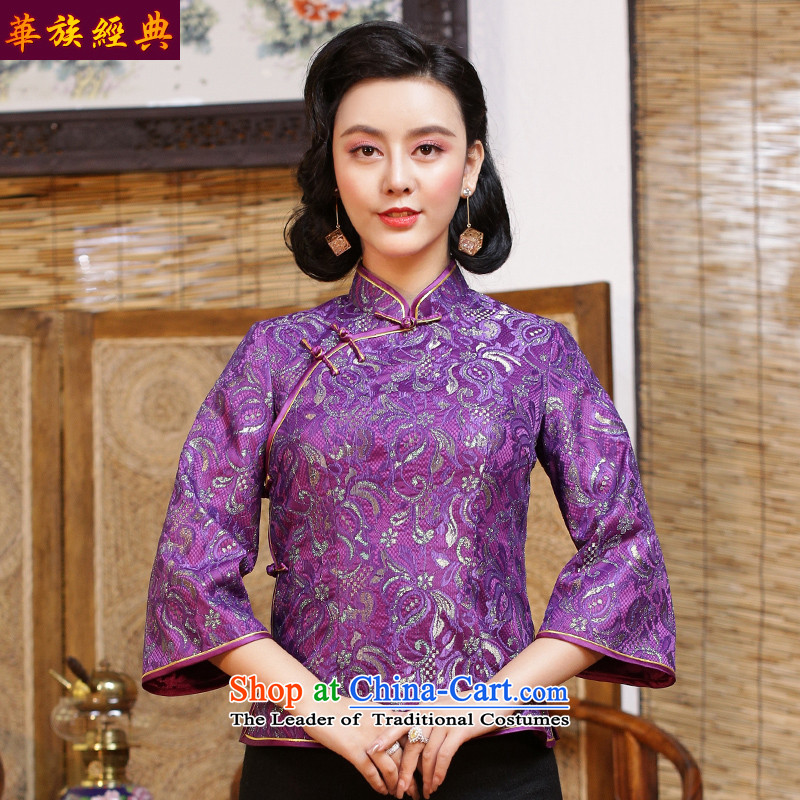 China Ethnic classic original lace Ms. Tang Dynasty Chinese improvements qipao shirt Han-Republic of Korea wind load spring and autumn female suit - 15 days pre-sale燣