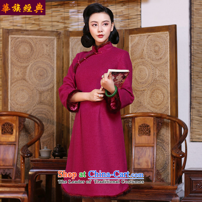China Ethnic classic autumn and winter? long-sleeved qipao gross 2015 new improved daily elegant beauty fashion thick female red燬