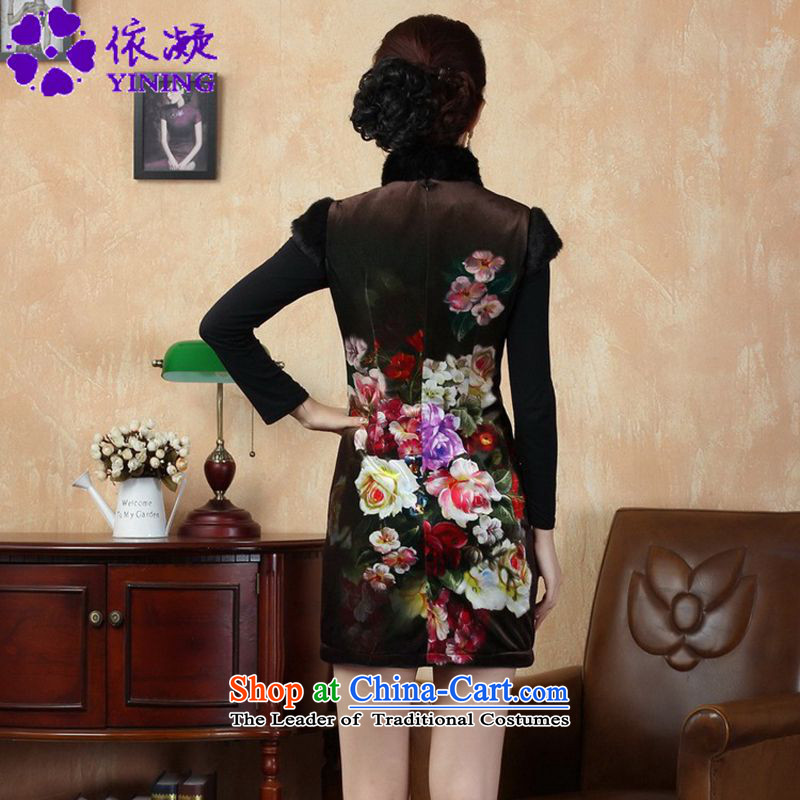 In accordance with the fuser retro ethnic Chinese improved women's Mock-neck ramp ends up short of arrest of Sau San Tong replacing old qipao winter /Y0021# -A black聽2XL, gel to , , , shopping on the Internet