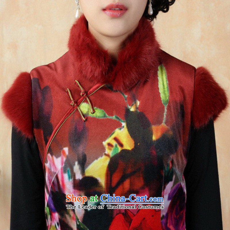 In accordance with the fuser retro ethnic Chinese improved women's Mock-neck ramp ends up short of arrest of Sau San Tong replacing old qipao winter /Y0021# -A black 2XL, gel to , , , shopping on the Internet