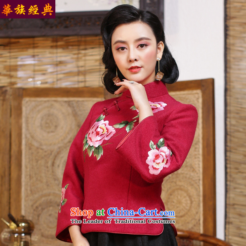 The Republic of Korea, China ethnic classic wind embroidery Tang Dynasty Chinese qipao Ms. shirt Fall_Winter Collections tea arts garment China wind in red - 15 days pre-sale燲L