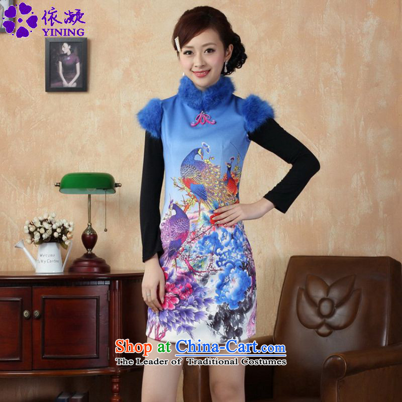In accordance with the fuser retro ethnic Chinese improved women's Mock-neck animals stamp, Sau San Tong loaded short winter qipao ancient _Y0022_ Figure聽2XL