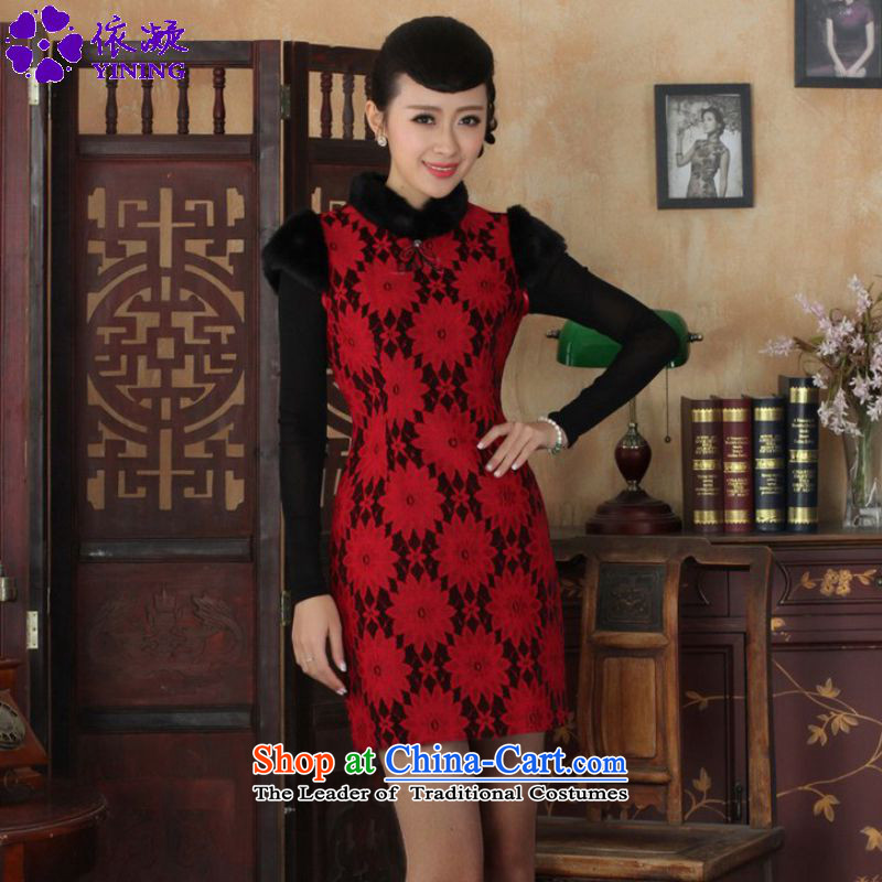 In accordance with the Fuser OF ETHNIC CHINESE WOMEN'S improved dresses Classic tray clip short of Sau San Tong replacing old winter qipao _Y0023_ figure聽L