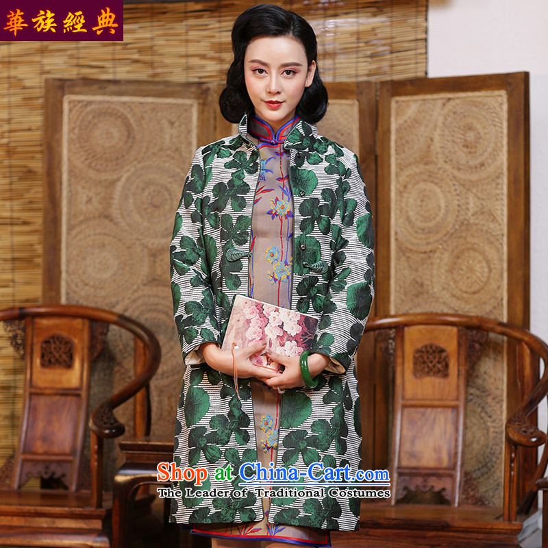 China ethnic nationalities Tang Dynasty Ms. classic autumn and winter coats 2015 CHINESE CHEONGSAM with T-shirt China wind Han-improved Green - 15 days pre-sale聽XXXL