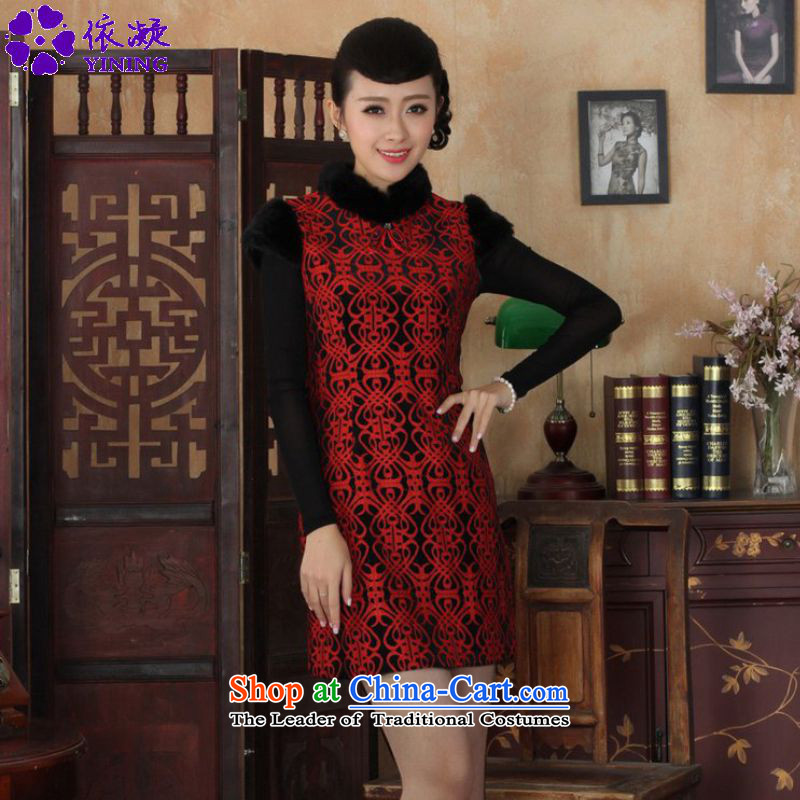 In accordance with the fuser retro ethnic Chinese improved women's Mock-neck stitching short, Sau San Tong replacing old winter qipao _Y0024_ Figure聽2XL
