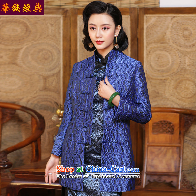 Chinese Classic long-sleeved jacket qipao Serb autumn and winter, Ms. Han-Tang Dynasty Chinese shirt of the Republic of Korea in improving women's Blue - 15 days pre-sale XXXL