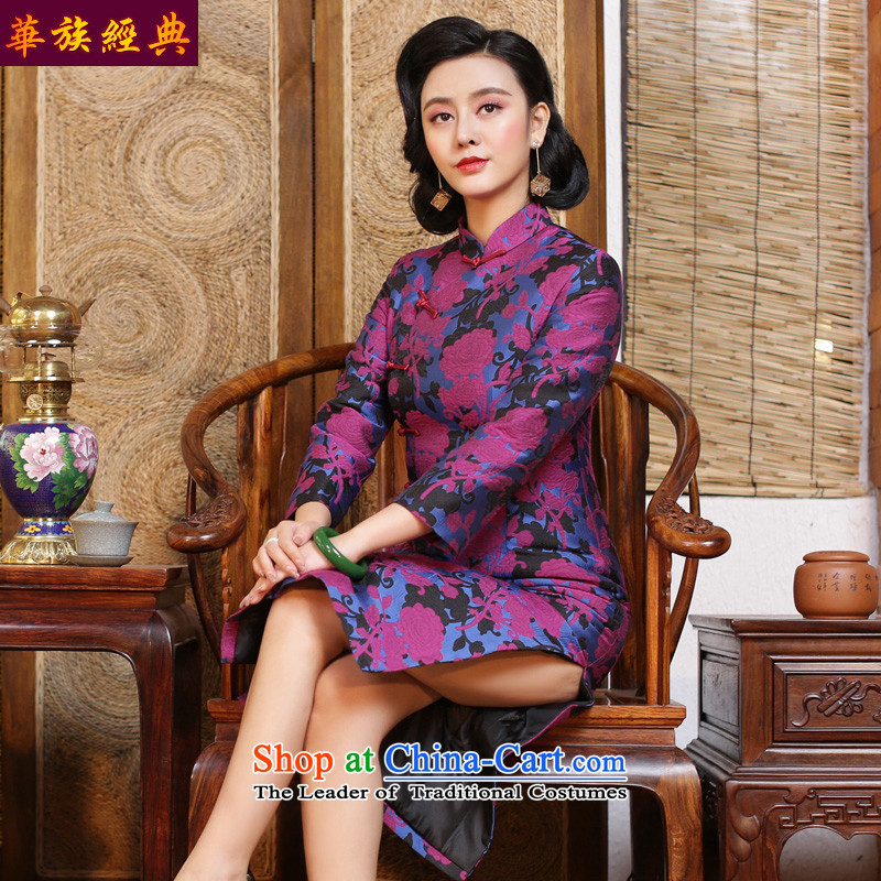 China ethnic Chinese in long-sleeved Long Classic of daily Sau San retro cheongsam dress of autumn and winter wind of the Republic of Korea - pre-sale elegant floral燲XXL 15 Days