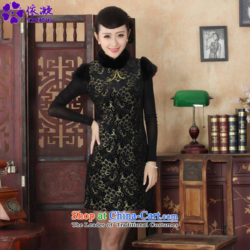 In accordance with the fuser retro ethnic Chinese improved women's dresses need collar badges of Sau San Tong replacing old qipao winter _Y0025_ Figure聽2XL
