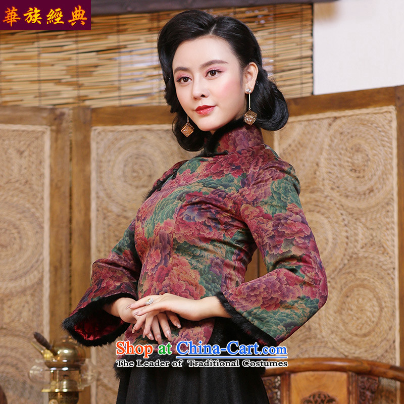China Ethnic classic silk Heung-cloud Tang dynasty yarn cotton coat women's long-sleeved shirt clip cotton cheongsam Chinese clothing autumn and winter, suit - 15 days pre-sale L