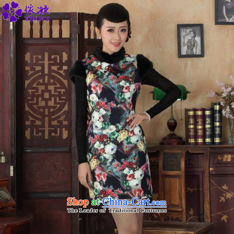 In accordance with the new fuser winter of ethnic Chinese women's classical disk improved clip Tang dynasty, Sau San short qipao ancient /Y0026# figure?L