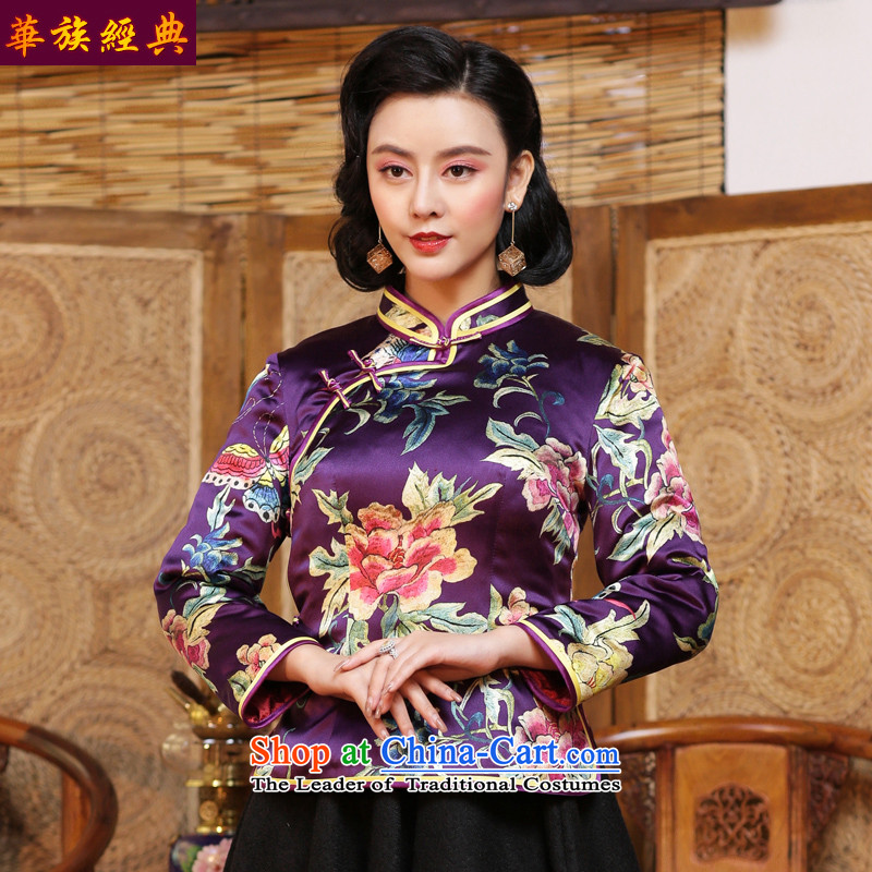China Ethnic classic silk herbs extract folder cotton shirt qipao Tang Women's clothes autumn and winter jackets robe Chinese improved Purple - 15 days pre-sale燬