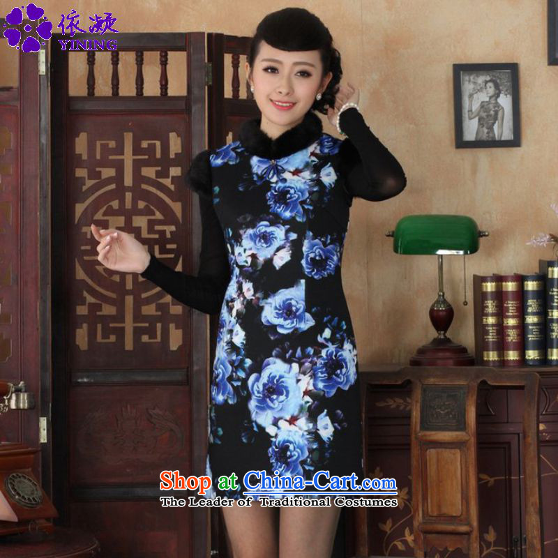 In accordance with the fuser retro OF ETHNIC CHINESE WOMEN'S winter improved dresses collar suit stitching Tang dynasty qipao ancient /Y0028# figure XL