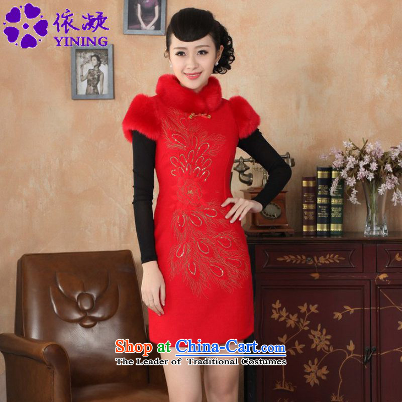 In accordance with the Chinese National wind improvement gel female dresses collar stitching short, Sau San Tong replacing old winter qipao _Y0030_ Red 2XL