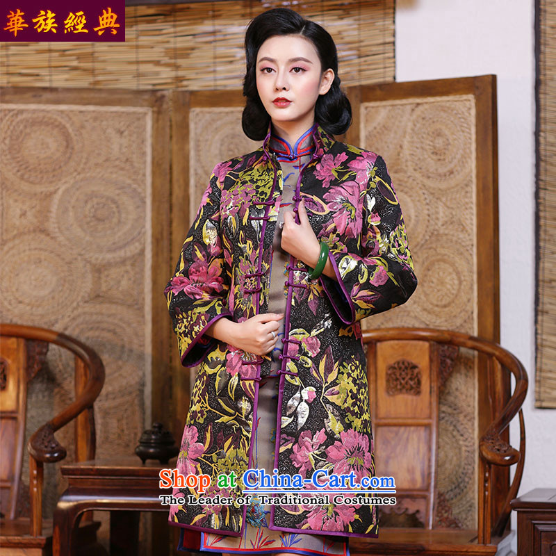 China ETHNIC CHINESE CHEONGSAM jacket improvement classic Tang Dynasty National Autumn and winter blouses Han-Republic of Korea women's large wind suit - 15 days pre-sale?L