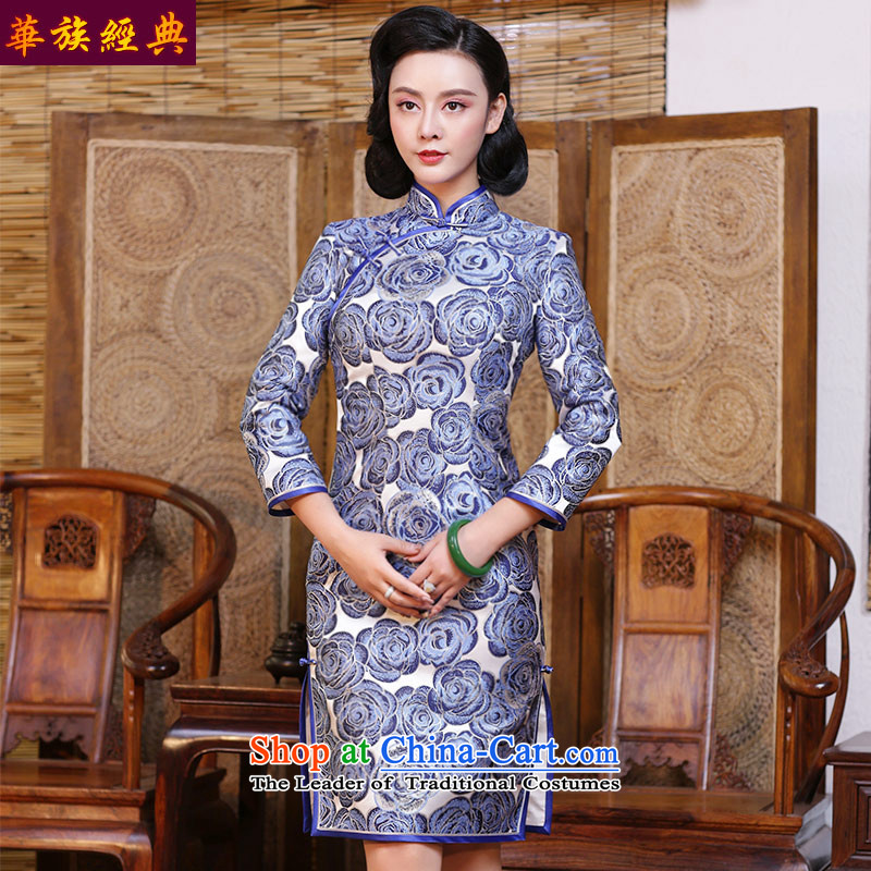 Chinese Classic autumn and winter day-to-day-long-sleeved Chinese cheongsam dress 2015 new improved large stylish retro female suit - pre-sale燲XXL 15 Days