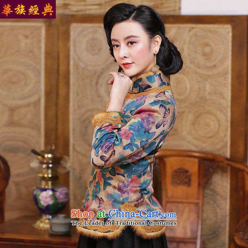 China Ethnic classic silk and cotton yarn folder cloud of incense qipao Ms. Tang dynasty shirt robe of winter clothing Republic of Korea women's Chinese Wind suit - pre-sale聽XXXL 15 Days