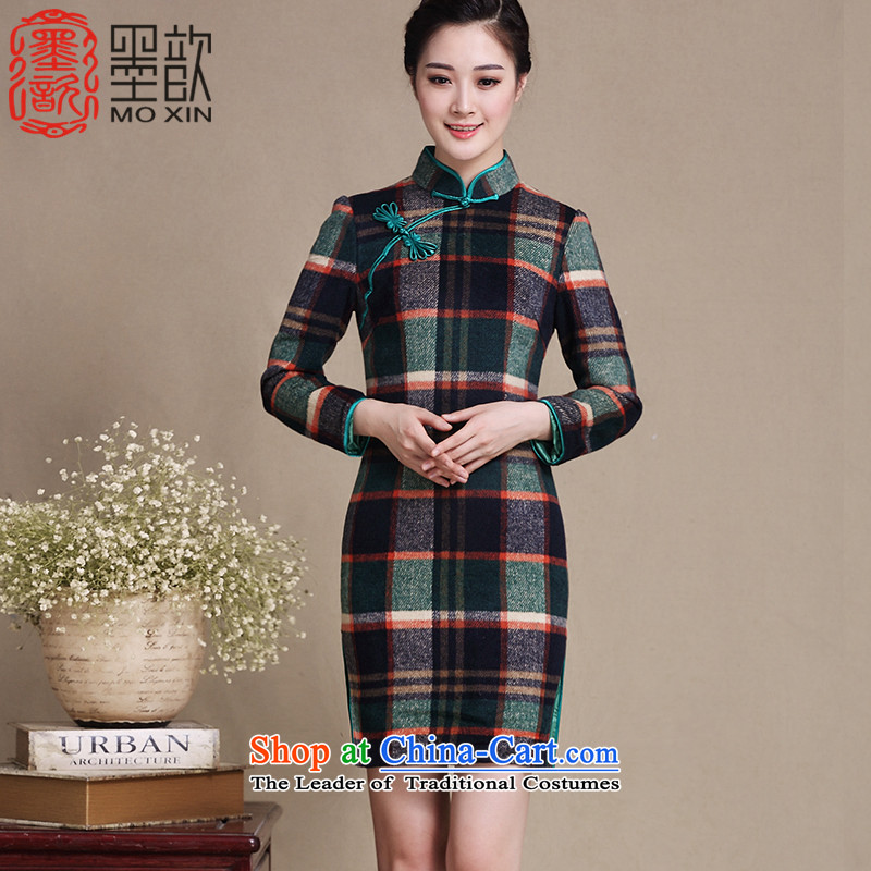 Ink 歆 manga new long-sleeved gross qipao? Fall_Winter Collections retro style patterned new skirt qipao Sau San, improved cheongsam dress?Y3221?grid color?XL