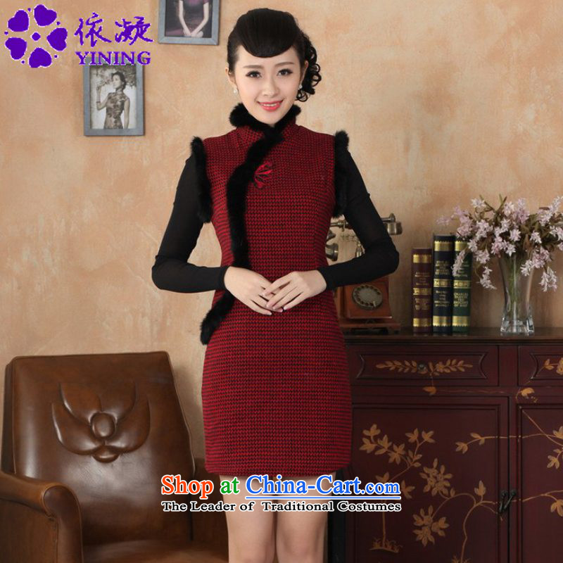 In accordance with the fuser retro ethnic Chinese improved women's dresses need collar Plaid Short Cut of Sau San Tong replacing old qipao winter /Y0031# RED?S