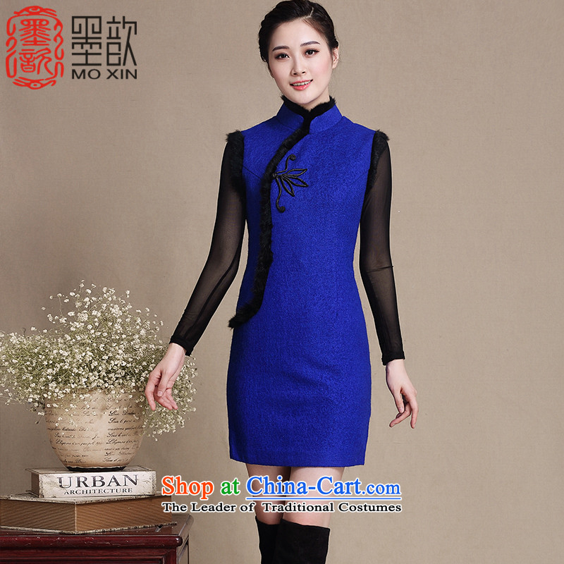 The 2015 autumn cream ? Hiu winter clothing Gross Gross new qipao? for thick cheongsam dress Stylish retro cheongsam dress improved female Y3198 BLUE XL