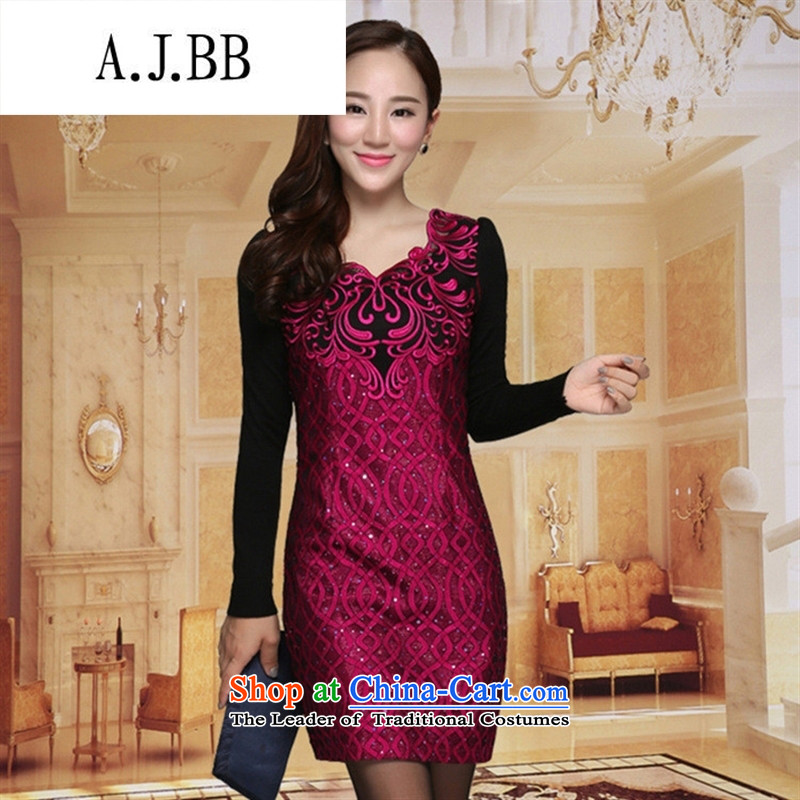 Memnarch ? Connie Shop 2015 Autumn new large temperament, female graphics thin Foutune of long-sleeved lace dresses in red XL