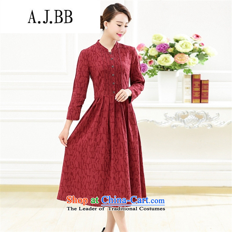 Memnarch 琊 Connie Shop 2015 new products in the autumn of older mother loaded collar retro pattern in the folds of the Sau San large wind cotton linen dresses XXXL red