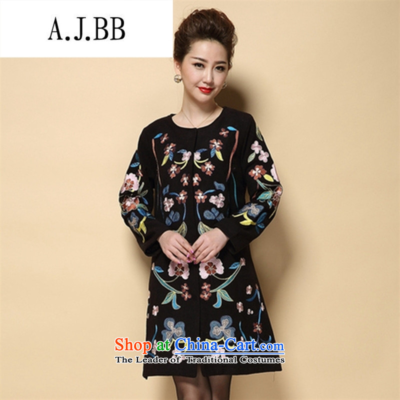 Memnarch 琊 Connie Shop 2015 autumn and winter new elderly mother wedding load wedding fashion embroidered jacket coat jacket black 5XL?