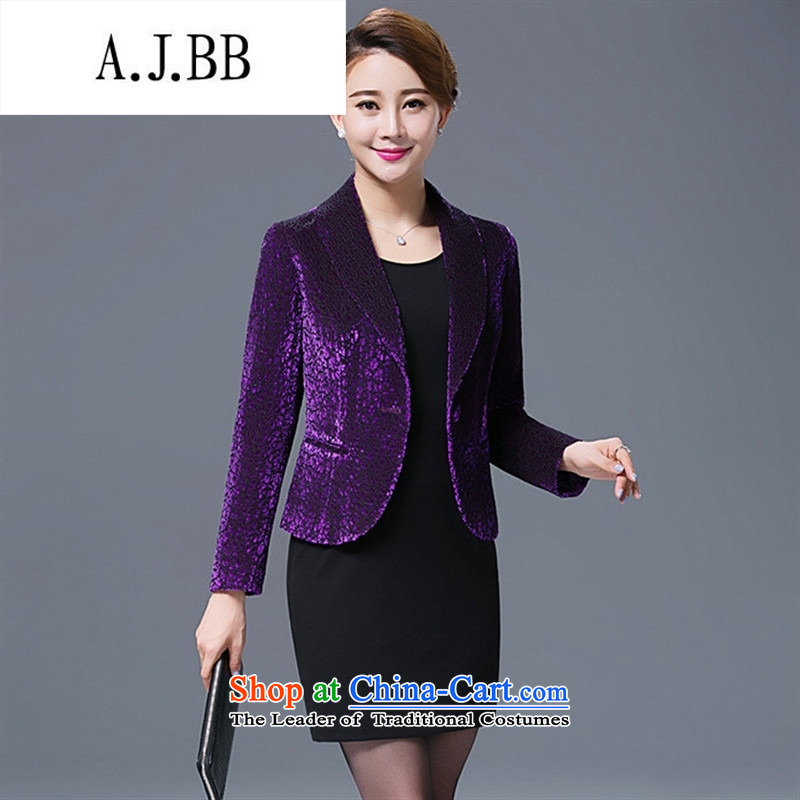 Memnarch 琊 Connie Shop 2015 autumn and winter in the new mother with large numbers of older occupational temperament Sau San banquet jacket small business suit dark violet XXL