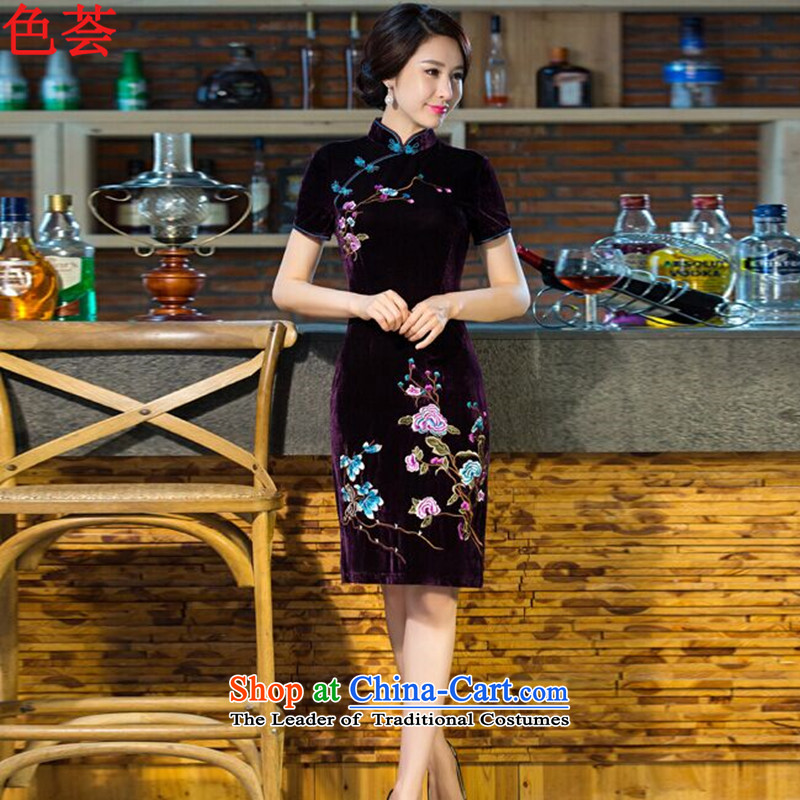 Aloe vera 2015 autumn and winter color new and old age are larger women's mother Kim cheongsam dress with scouring pads in long-sleeved improved retro wedding dresses purple燣