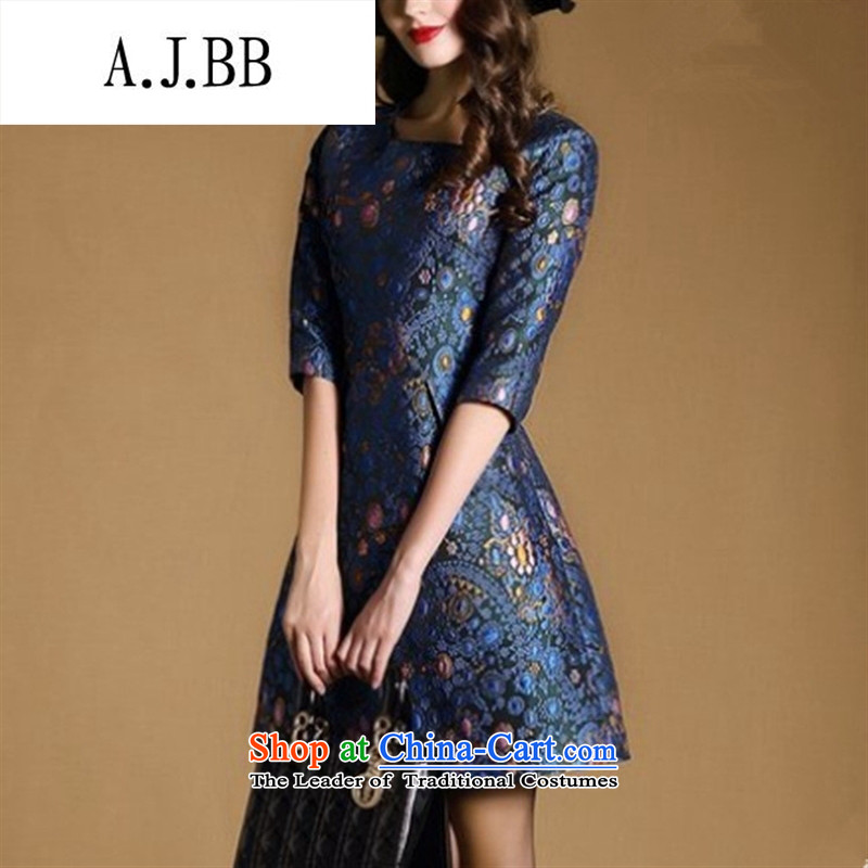 Memnarch 琊 Connie Shop 2015 Autumn New) palace luxury jacquard round-neck collar 7 Cuff A Sau San skirt dresses picture color L