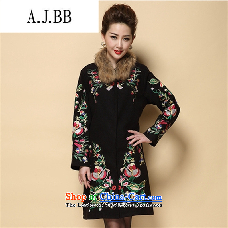 Memnarch ? Connie Shop 2015 winter new middle-aged mother with ethnic heavy industry embroidery large embroidered a wool coat jacket black L