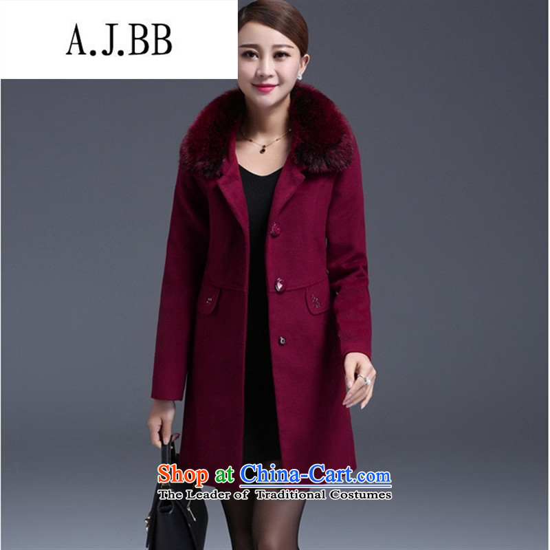 Memnarch �� Connie Shop 2015 autumn and winter new Korean minimalist gross for long mother who decorated wine red jacket? wool?XL