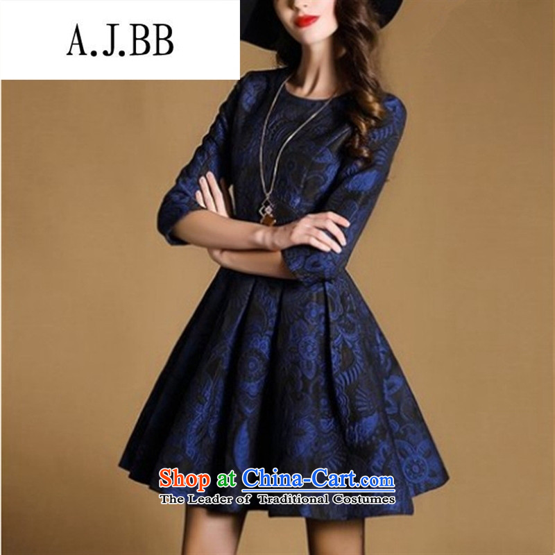 Memnarch ? Connie Shop 2015 Autumn New) lady jacquard round-neck collar stereo Sau San A skirt dresses blue�L